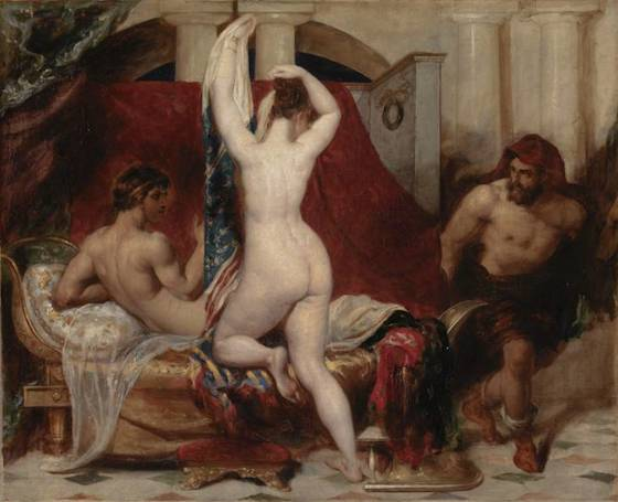 William Etty, Candaules, King of Lydia Shews his Wife by Stealth to Gyges, One of his Ministers, As She Goes to Bed, 1830, oil on canvas, 45.1 x 55.9 cm (Tate)