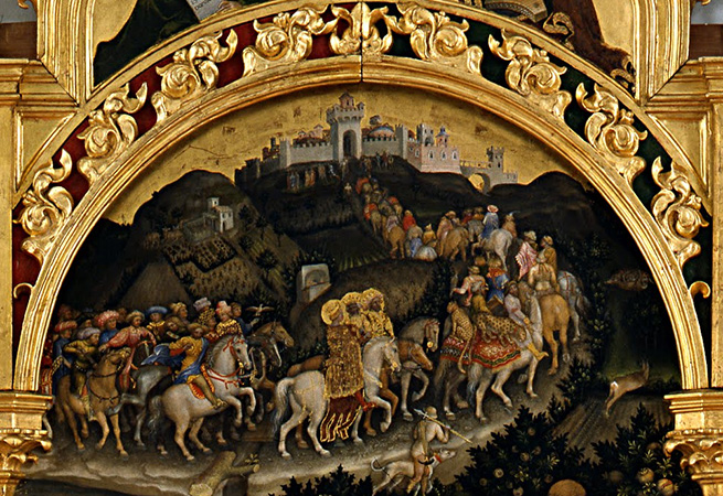 The magi entering Jerusalem (detail), Gentile da Fabriano, Adoration of the Magi, 1423, tempera on panel, 283 x 300 cm (Uffizi Gallery, Florence)