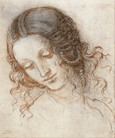 Leonardo da Vinci, Head of Leda, c. 1504-06, pen and ink over black chalk, 14.7 x 17.7 cm (Royal Collection trust, UK)