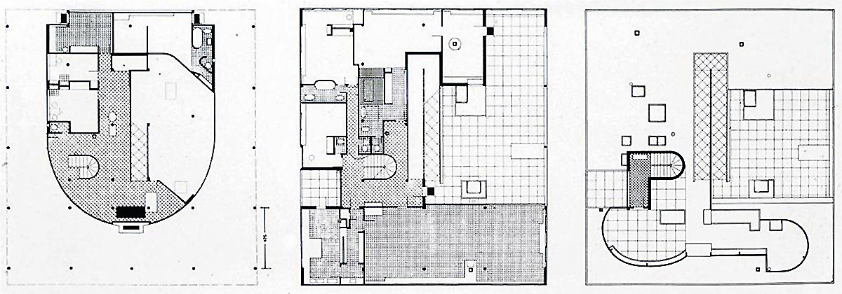 Ground plan (left), first story (center), atrium and roof garden (right), Le Corbusier, Villa Savoye, Poissy, France, 1929