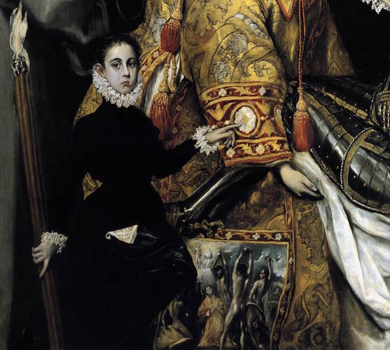 St. Stephen's clothing (detail), El Greco, Burial of the Count of Orgaz, 1586–88 (Santo Tomé, Toledo, Spain), oil on canvas, 480 x 360 cm