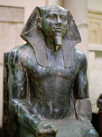 Khafre enthroned, from Giza, Egypt, c. 2520-2494 B.C.E., diorite. 5' 6 inches high (Egyptian Museum, Cairo)
