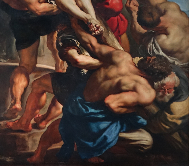 Figures raising the cross (detail), Peter Paul Rubens, Elevation of the Cross, from Saint Walburga, 1610, oil on wood, center panel: 15 feet 1-7/8 inches x 11 feet 1-1/2 inches (now in Antwerp Cathedral)