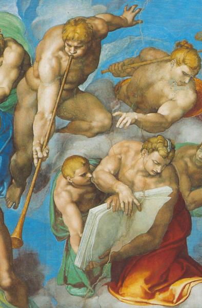 Angels (detail), Michelangelo, Last Judgment, Sistine Chapel, altar wall, fresco, 1534-1541 (Vatican City, Rome)