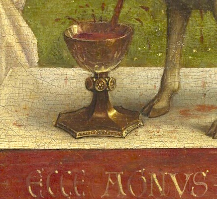 Chalice (detail), Adoration of the Mystic Lamb, bottom center panel, Jan van Eyck, Ghent Altarpiece, completed 1432, oil on wood, 11 feet 5 inches x 15 feet 1 inch (open), Saint Bavo Cathedral, Ghent, Belgium (photo: Closer to Van Eyck)