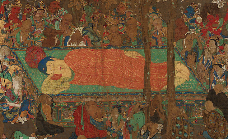Nirvana of the Buddha, early 14th century,  Kamakura period, Japan, ink, color, gold and silver on silk (Freer|Sackler)