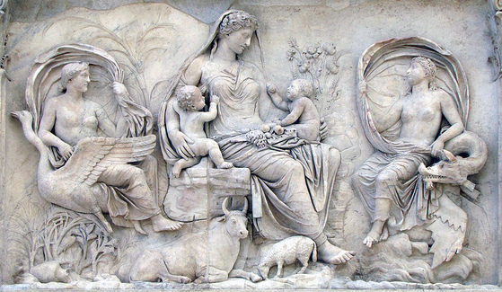 Relief from the Ara Pacis Augustae (Altar of Augustan Peace), 9 B.C.E. monument is dedicated, marble (Museo dell'Ara Pacis, Rome)