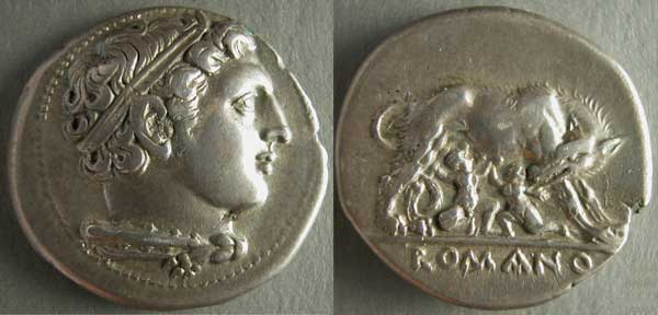 "Coin (didramma) from the ""Romano-campana"" series, Herakles and the wolf suckling the twins, 265 B.C.E., silver coin (Capitoline Museum, Rome)"