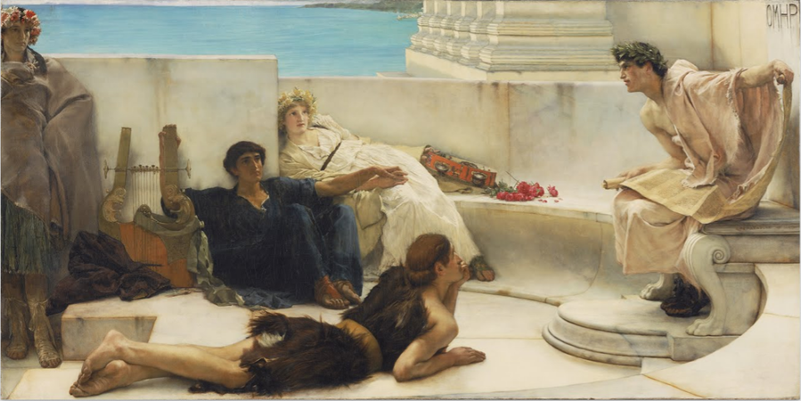Sir Lawrence Alma-Tadema, A Reading from Homer, 1885, oil on canvas, 1836.67 x 918.72 cm (Philadelphia Museum of Art)