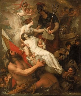 Benjamin West, The Immortality of Nelson, 1807, oil on canvas, 90.8 x 76.2 cm (National Maritime Museum, Greenwich)