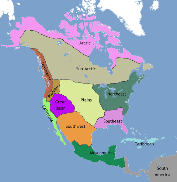 Map of North America showing the regions of Native American cultures