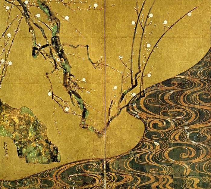 Left side, white plum blossoms (detail), Ogata Kōrin, Red and White Plum Blossoms, Edo period, 18th century, pair of two-fold screens, color and gold leaf on paper, 156 ×172.2 cm each, National Treasure (MOA Museum in Atami, Japan)