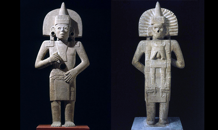 Life-Death Figure (front and back), c. 900-1250, Huastec (found between San Vicente Tancauyalab & Tamuin, San Luis Potosi, Northern Veracruz, Mexico), sandstone with traces of pigment, 158.4 x 66 x 29.2 cm (Brooklyn Museum)