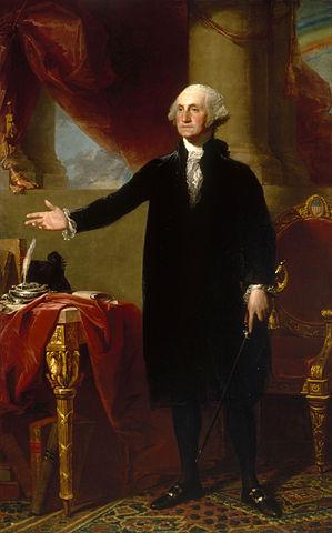 """Gilbert Stuart, Lansdowne Portrait of George Washington, 1796, oil on canvas, 96 × 60"""" / 243.8 × 152.4 cm (National Portrait Gallery)"""