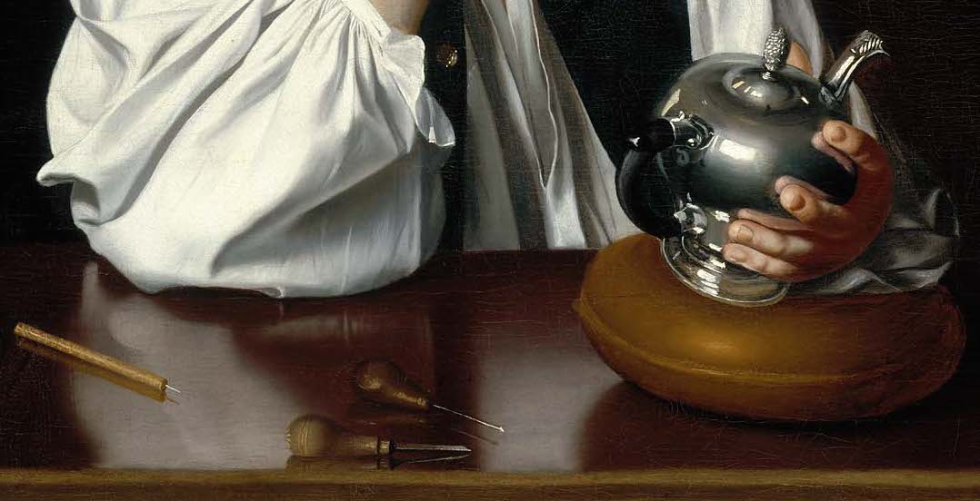 Tabletop and teapot (detail), John Singleton Copley, Paul Revere, 1768, oil on canvas, 89.22 x 72.39 cm (Museum of Fine Arts, Boston)