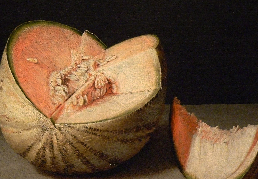 Detail, Juan Sánchez Cotán, Quince, Cabbage, Melon, and Cucumber, 1602, oil on canvas, 68.9 cm x 84.5 cm (San Diego Museum of Art) (photo: Mary Harrsch, CC BY-NC-SA 2.0)