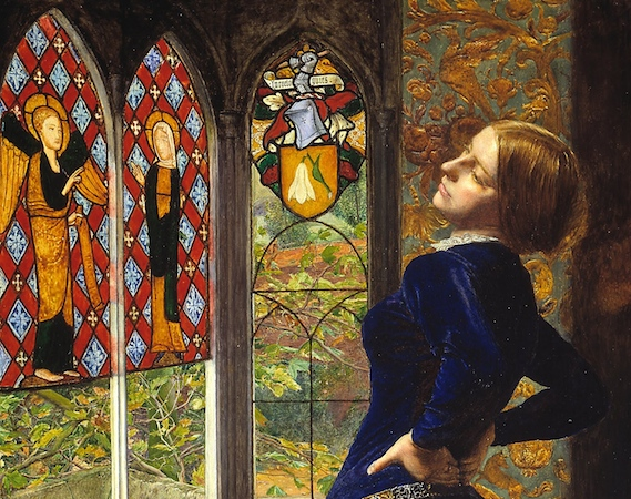 Mariana and the stained glass windows (detail), Sir John Everett Millais, Mariana, 1851, oil on mahogany 59.7 49.5 cm (Tate)