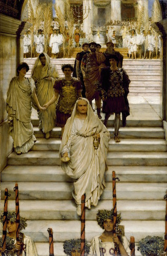 "Sir Lawrence Alma-Tadema, The Triumph of Titus: AD 71, The Flavians, 1835 oil on panel, 44.3 x 29 cm (The Walters Art Museum) ""In this canvas, the artist shows Titus returning to Rome in triumph following his capture of Jerusalem in AD 70. His father, Emperor Vespasian, clad in a white toga, leads the procession. Titus comes next, holding the hand of his daughter, Julia, who turns to address her father's younger brother and successor, Domitian. In the background is the Temple of Jupiter Victor. Among the spoils from Jerusalem is a 7-branched candlestick from the temple. Alma-Tadema depicted these events by drawing on classical sources, like the reliefs on of the Arch of Titus and on the latest 19th-century scholarship regarding everyday life in Rome."""