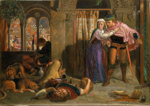 William Holman Hunt, The flight of Madeline and Porphyro during the drunkenness attending the revelry (The Eve of St. Agnes), smaller version of the painting exhibited at the Royal Academy, begun as a sketch, 1847-57, oil on panel, 355 x 252 cm (Walker Art Gallery, Liverpool)