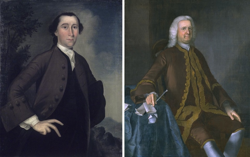 Right: Joseph badger, John Haskins, 1759, oil on canvas, 91.4 x 68.9 cm (The Brooklyn Museum); left: Joseph Blackburn, Colonel Theodore Atkinson, 1760, oil on canvas, 125.7 x 101.6 cm (Worcester Art Museum)