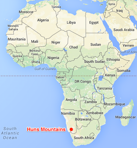 Location of the Huns Mountains of Namibia © Map Data Google