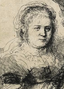 Lightly etched figure of Saskia (detail), Rembrandt van Rijn, Self-Portrait with Saskia, 1636, etching, 104 x 95 cm (Fitzwilliam Museum)