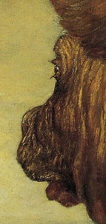 Profile of the minotaur (detail), George Frederic Watts, The Minotaur, 1885, oil on canvas, 118 x 94.5 cm (Tate Britain)