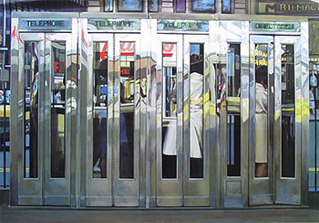 Richard Estes, Telephone Booths, 1967, acrylic on masonite, 122 x 175.3 cm (Museo Thyssen-Bornemisza, Madrid)