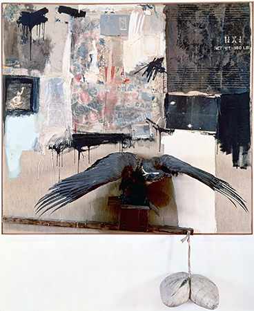 Robert Rauschenberg, Canyon, 1959, oil, pencil, paper, metal, photograph, fabric, wood, canvas, buttons, mirror, taxidermied eagle, cardboard, pillow, paint tube and other materials, 207.6 x 177.8 x 61 cm (The Museum of Modern Art) © 2014 Robert Rauschenberg Foundation