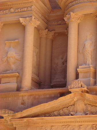 Relief sculpture and acroteria (detail), The Treasury (Khazneh), Petra (present-day Jordan), 2nd century C.E. (photo: Richard White, CC BY-NC-ND 2.0)