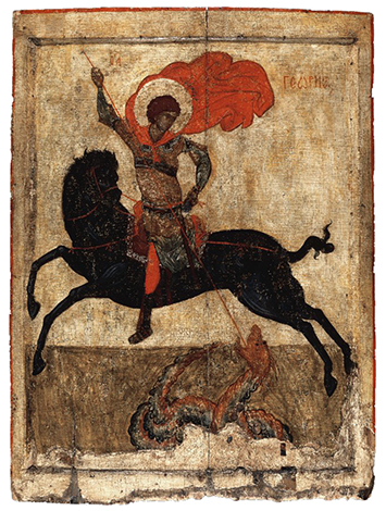 Icon of St. George ('The Black George'), c. 1400-1450, tempera on panel, 77.4 x 57 cm (The British Museum)