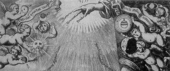 Hand of god detail g b riccioli frontispiece almagestum novum 1651