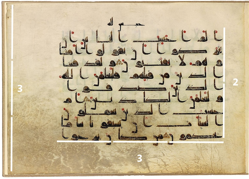 Diagram of proportions, Single folio, Qur'an fragment, in Arabic, possibly Iraq, before 911 (The Morgan Library and Museum)