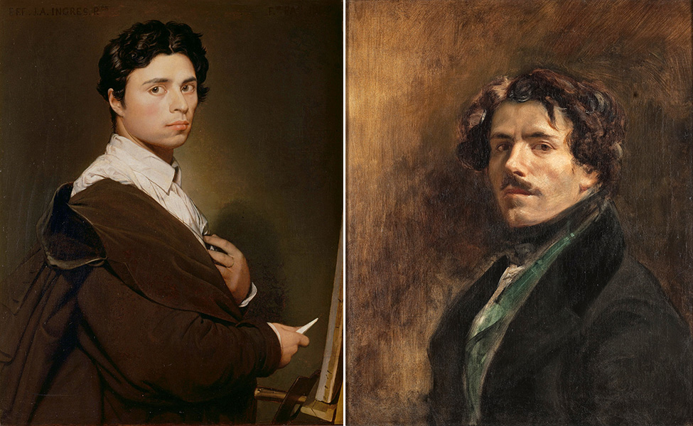 Left: Jean-Auguste-Dominique Ingres, Self Portrait at the age of 24, 1804 (Musée Condé); right: Eugène Delacroix, Self-Portrait, c. 1837 (Musée du Louvre)