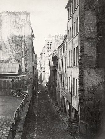 Charles Marville, Rue St. Nicolas du Chardonnet ca. 1853–70, one of the narrow medieval streets near the Pantheon