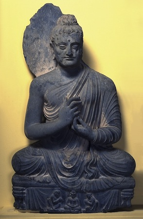 Seated Buddha, 200–300. Pakistan; perhaps Jamalgarhi, Peshawar valley, ancient region of Gandhara. Schist. The Avery Brundage Collection, B60S393.