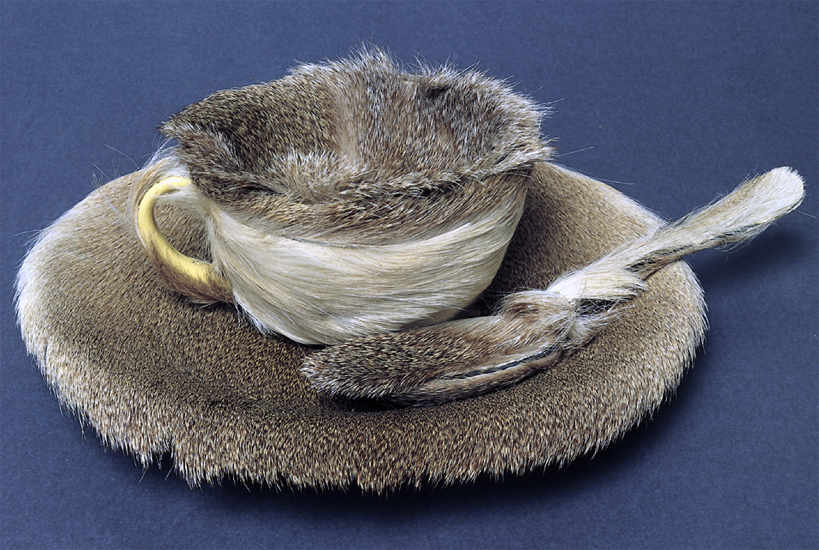 "Meret Oppenheim. Object, 1936. Fur-covered cup, saucer, and spoon, cup 4-3/8"" in diameter; saucer 9-3/8"" in diameter; spoon 8"" long, overall height 2-7/8"" (The Museum of Modern Art, New York)"