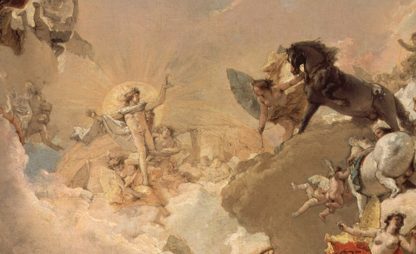 Apollo (detail), Giambattista and Domenico Tiepolo, Apollo and the Continents, 1752, oil on canvas, 73 x 54 7/8 inches / 185.4 x 139.4 cm (The Metropolitan Museum of Art)