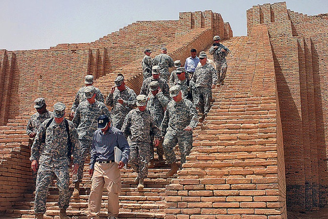 US soldiers decend the Ziggurat of Ur, Tell el-Mukayyar, Iraq