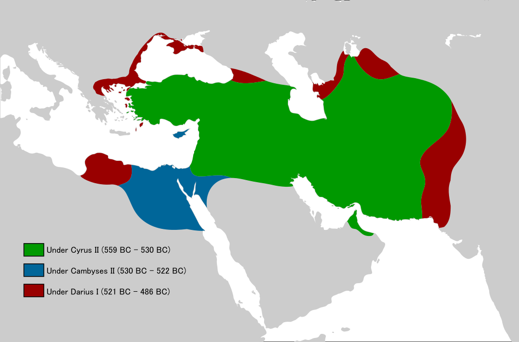 Growth of the Achaemenid Empire under different kings (source)