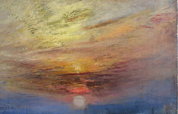 Accumulated paint visible in the sky (detail), Joseph Mallord William Turner, The Fighting Temeraire, 1839, oil on canvas, 90.7 x 121.6 cm (The National Gallery, London)