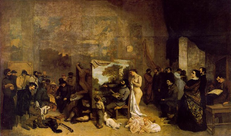 Gustave Courbet, The Artist's Studio; A real allegory summing up seven years of my artistic and moral life, 1854-55, oil on canvas, 361 x 598 cm (Musée d'Orsay, Paris)