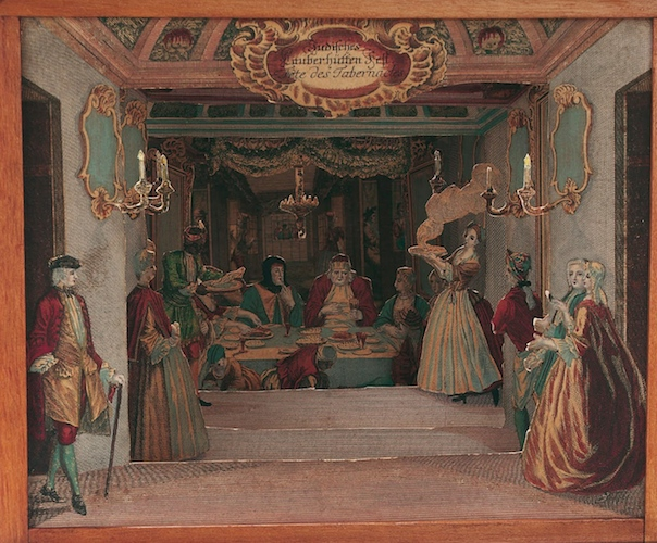 Martin Engelbracht, Diorama showing a sukkah interior, paper, c.1730, Augsburg, Germany, 236 x 297 cm (The Jewish Museum, London)