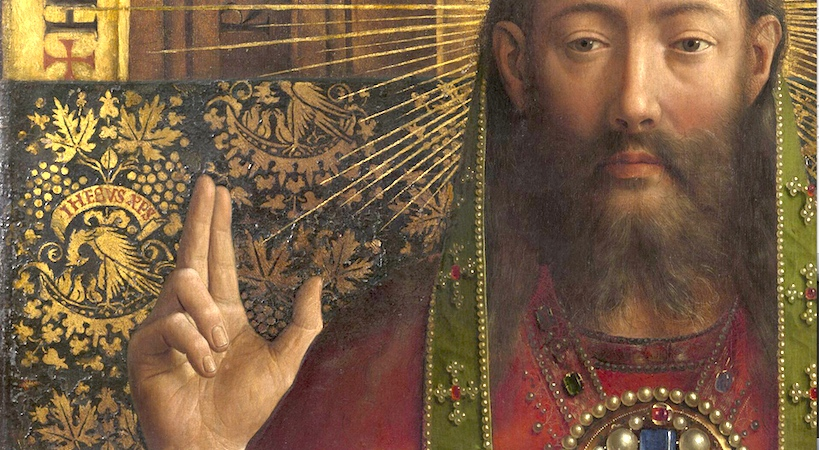 God the Father/Christ* (detail), Jan van Eyck, Ghent Altarpiece, completed 1432, oil on wood, 11 feet 5 inches x 15 feet 1 inch (open), Saint Bavo Cathedral, Ghent, Belgium (photo: Closer to Van Eyck)