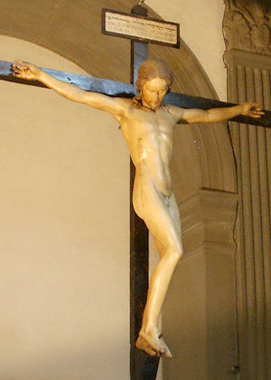 Attributed to Michelangelo, Crucifix, polychrome wood, 1492, 142 x 25 cm (Santo Spirito, Florence)