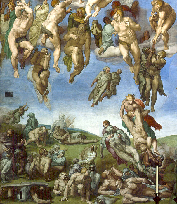 The dead rise from their graves and float to heaven, some assisted by angels. In the upper right, a couple is pulled to heaven on rosary beads, and just below that a risen body is caught in violent tug of war (detail), Michelangelo, Last Judgment, Sistine Chapel, altar wall, fresco, 1534-1541 (Vatican City, Rome) fresco, 1534-1541 (Vatican City, Rome)