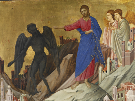 Duck, The Temptation of Christ on the Mountain, 1308-11, tempera on poplar panel, 17 x 18 1/8 inches / 43.2 x 46 cm (The Frick Collection)