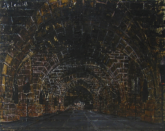 Anselm Kiefer, Shulamite [Sulamith], 1983, oil, emulsion, woodcut, shellac, acrylic, and straw on canvas, 213 x 145 inches / 541 x 368.3 cm (Doris and Donald Fisher Collection). © Anselm Kiefer, courtesy of the artist.