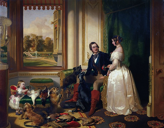 Sir Edwin Landseer, Windsor Castle in Modern Times; Queen Victoria, Prince Albert and Victoria, Princess Royal, 1840-43, oil on canvas, 113.3 x 144.5 cm (The Royal Collection)