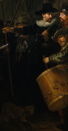 Drummer (detail), Rembrandt, Officers and Men of the Company of Captain Frans Banning Cocq and Lieutenant Wilhelm van Ruytenburgh, known as the Night Watch, 1642, oil on canvas, 379.5 x 453.5 cm (Rijksmuseum, Amsterdam)